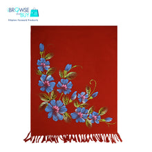 Handpainted Petite Shawl - Red, Flordeliz Floral Design