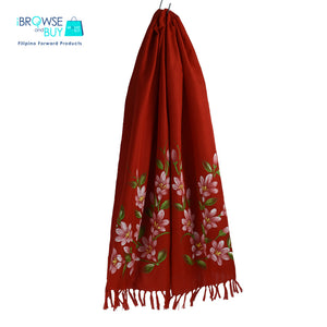 Handpainted Petite Shawl - Red, Sampaguita Floral Design