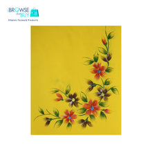 Handpainted Petite Shawl - Yellow, Red Cosmos Floral Design