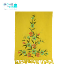 Handpainted Petite Shawl - Yellow, Green Cosmos Floral Design