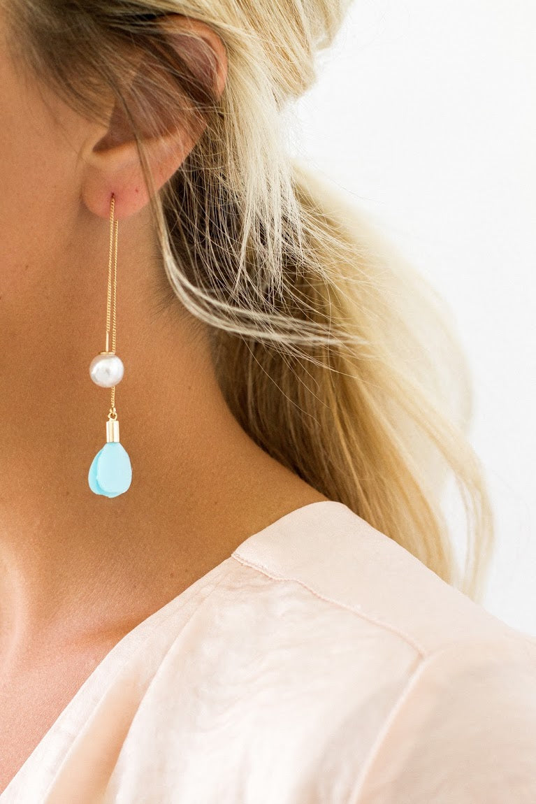 Pearl and Fringe Threader Earrings
