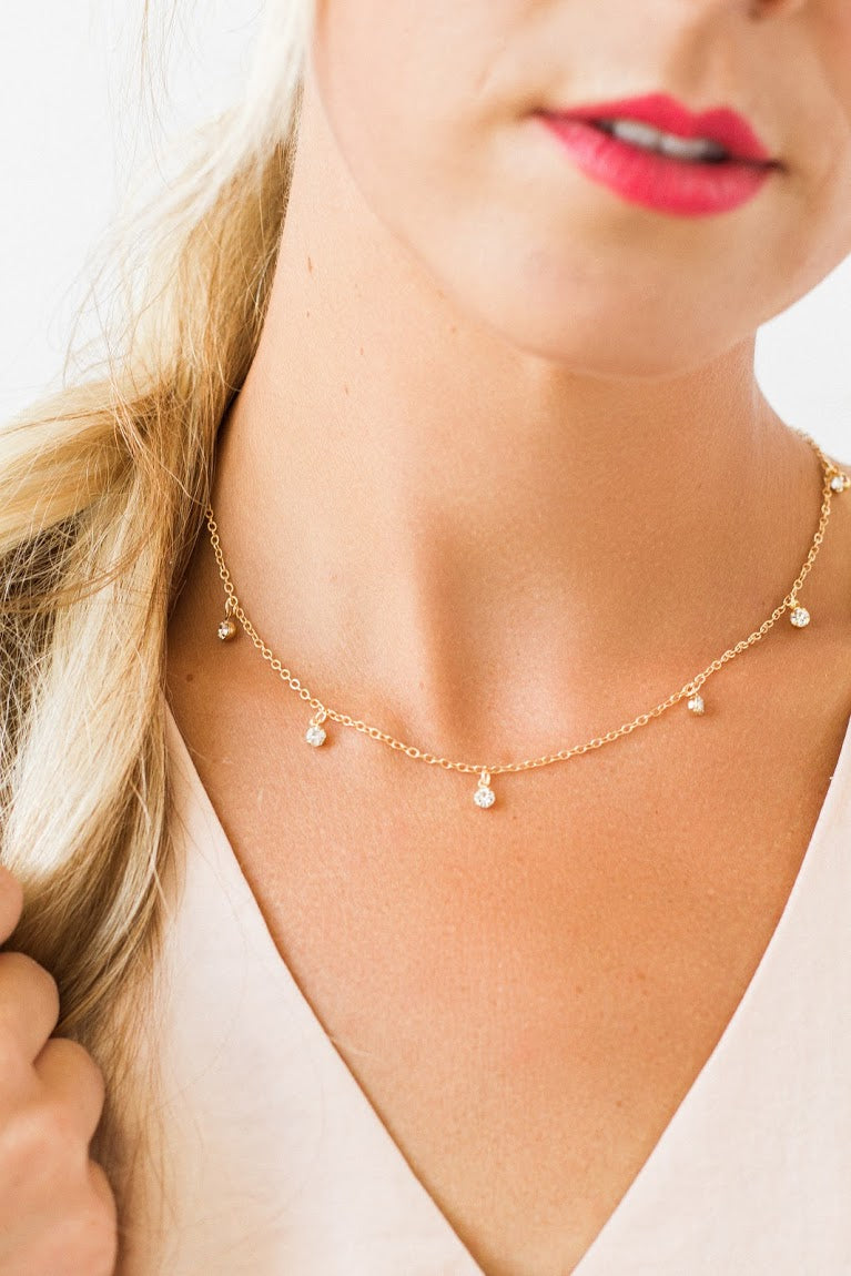 Jewel Drop Gold Choker Necklace