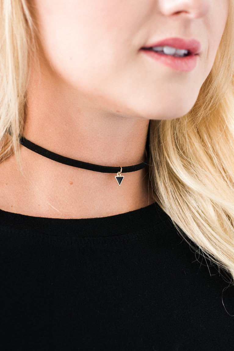 Black Suede Triangle Choker Necklace