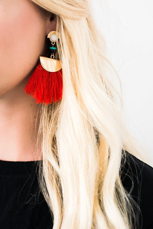 Red and Gold Tassel Earrings