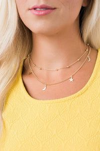 Moon and Star Double Strand Choker Necklace