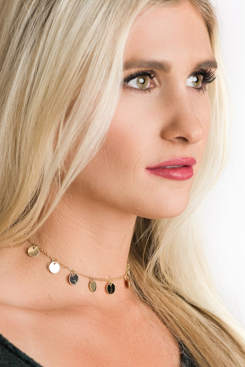 Lucky Coin Drop Choker Necklace