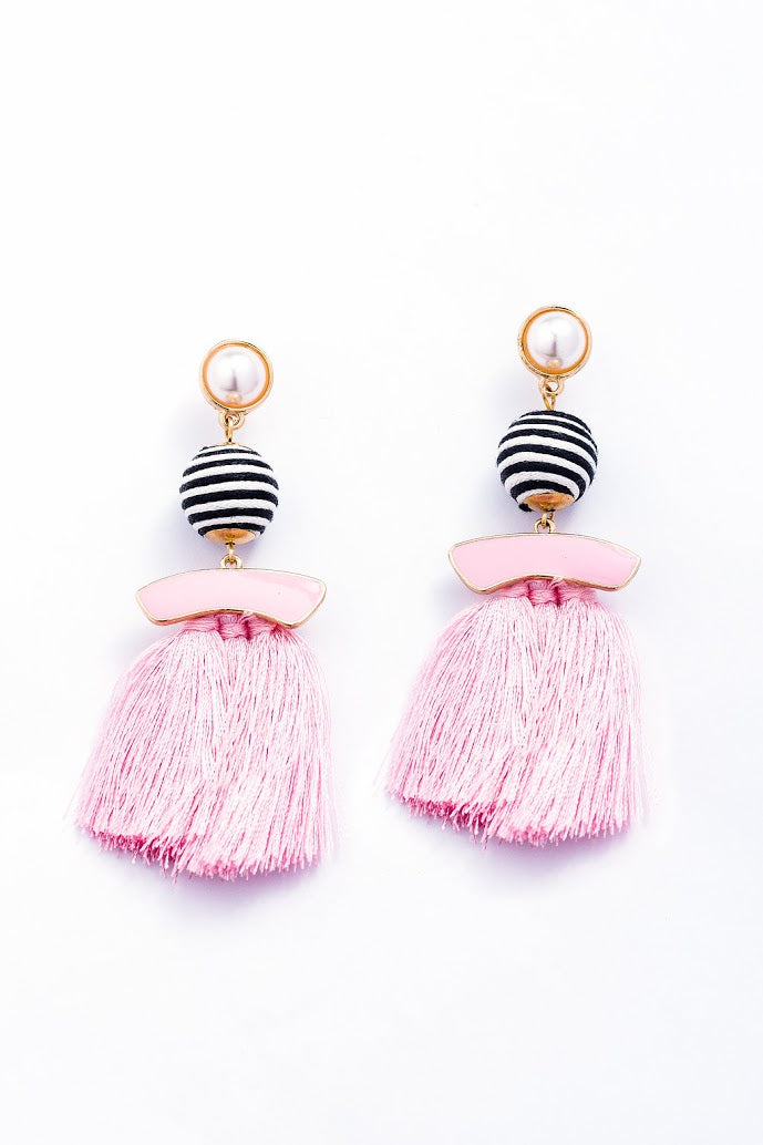 Pearl and Tassel Statement Earrings-Multiple Colors!
