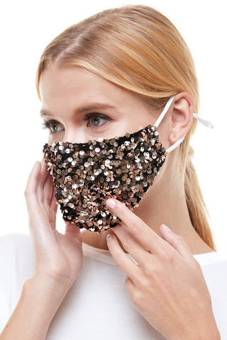 Velvet Gold Sequin Mask