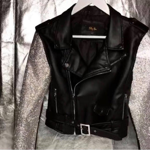 Moto Blinged Faux Leather Jacket
