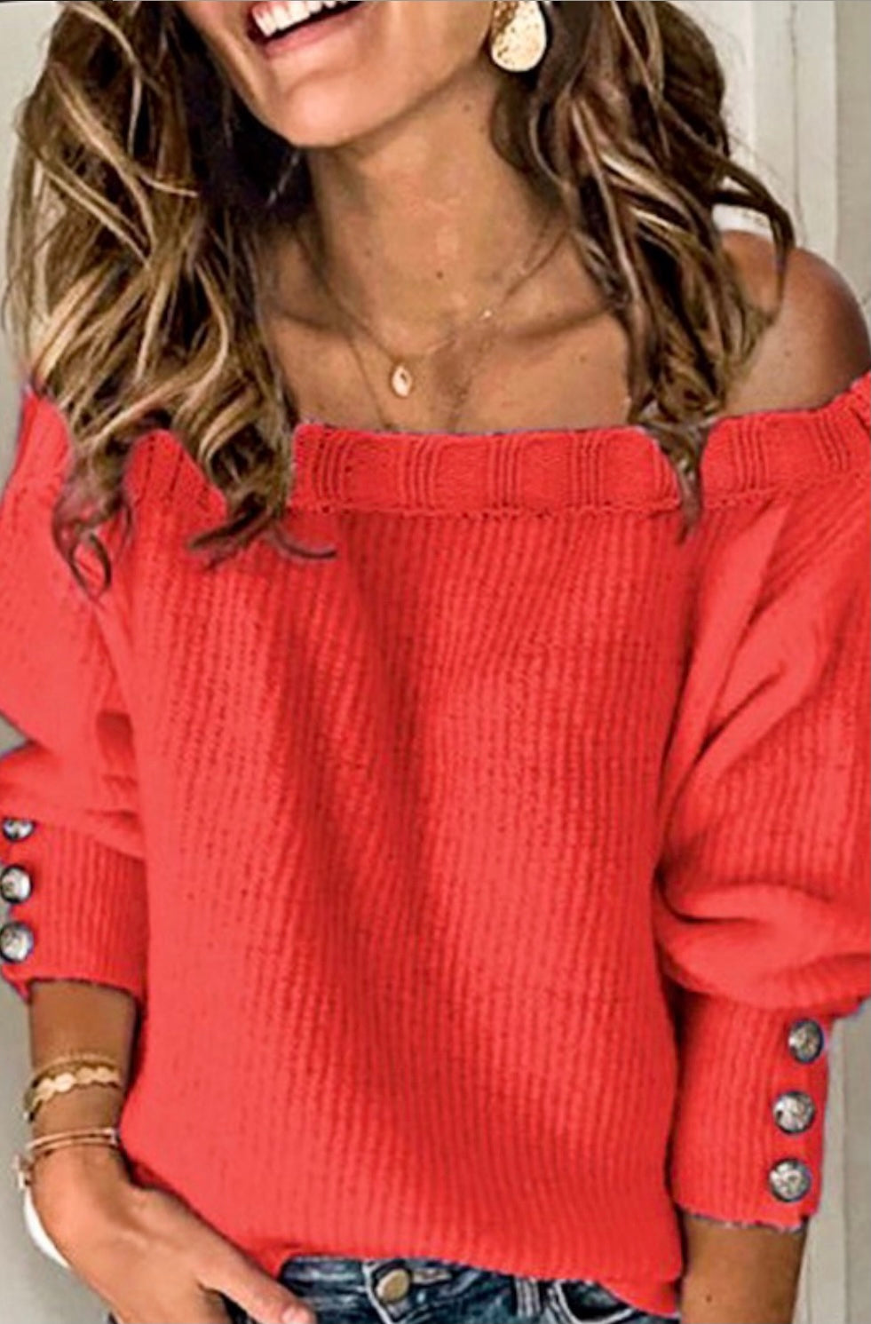Off The Shoulder Sweater With Buttons