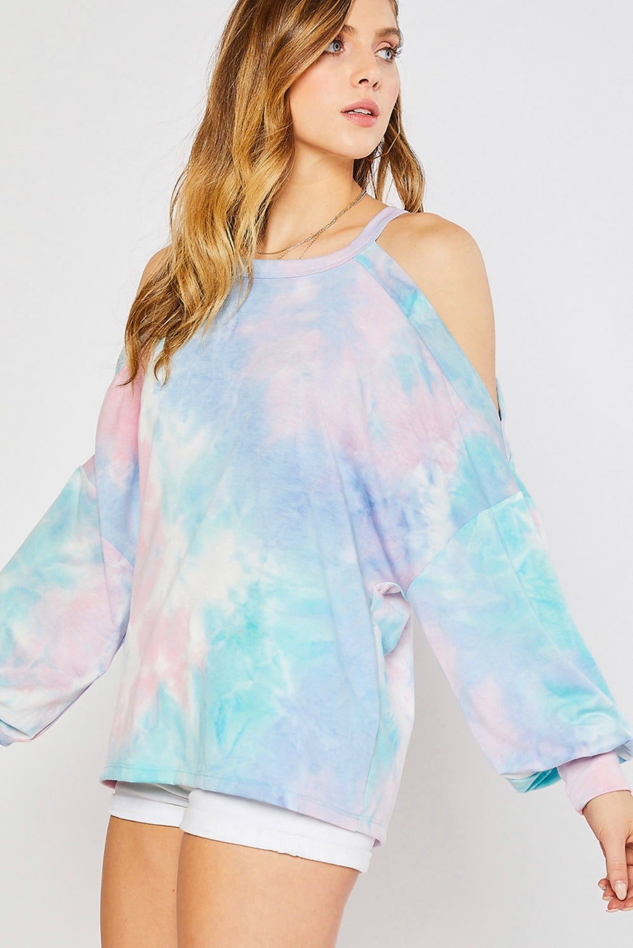 Tie Dye Cold Shoulder Sweatshirt