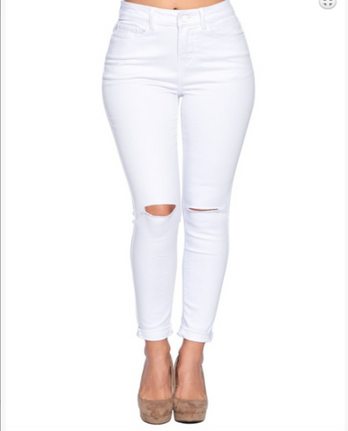 Destroyed Classic White Jeans