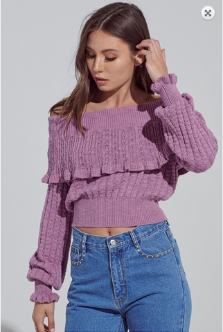 Ruffled Off The Shoulder Knit Sweater