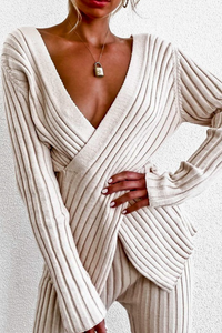 ribbed knitted detail sweater set