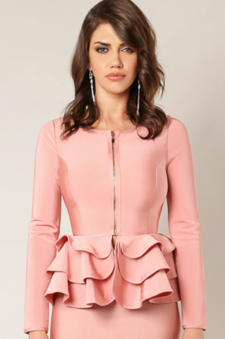 Blush Waisted Bandage Jacket