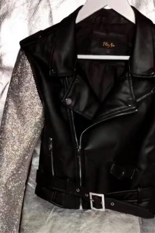 Moto Blinged Leather Jacket