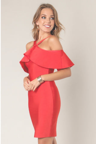 Ruffle Bandage Red Dress