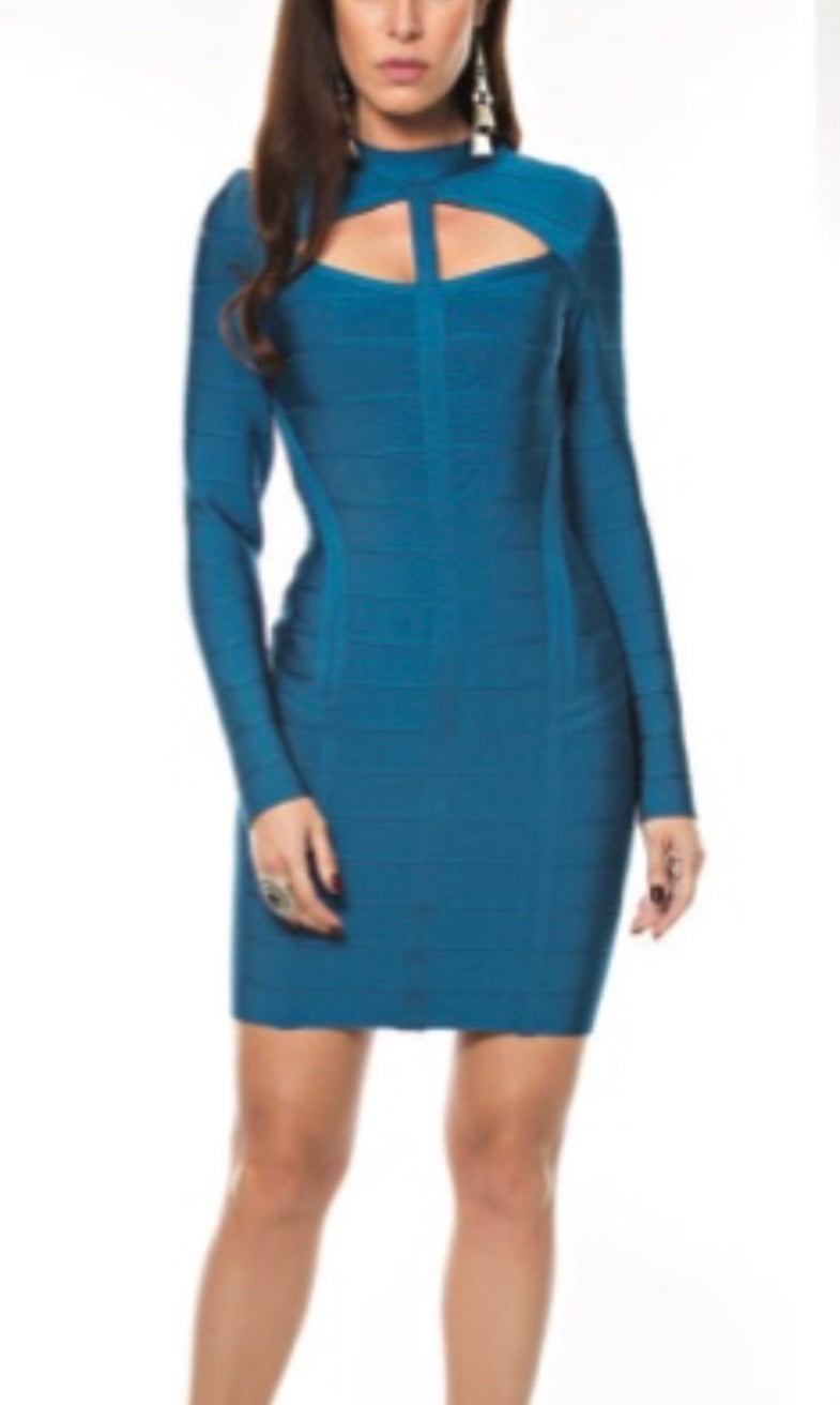 Social Blue Bandage Dress