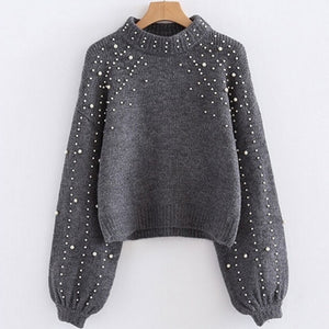 Grey Pearl Detail Sweater