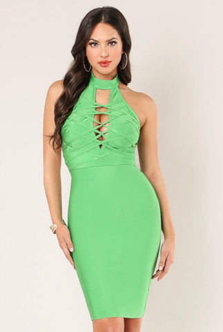 Lime Green Bandage Dress