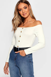 White Button Bodysuit