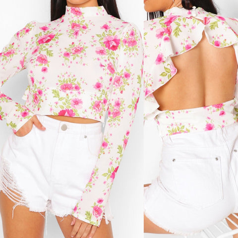 Floral Ruffle Open Back Top