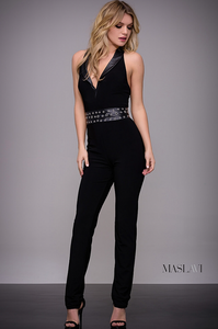 Leather Detail Maslavi Jumpsuit by Jovani