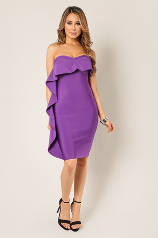 Purple Ruffle Bandage Dress