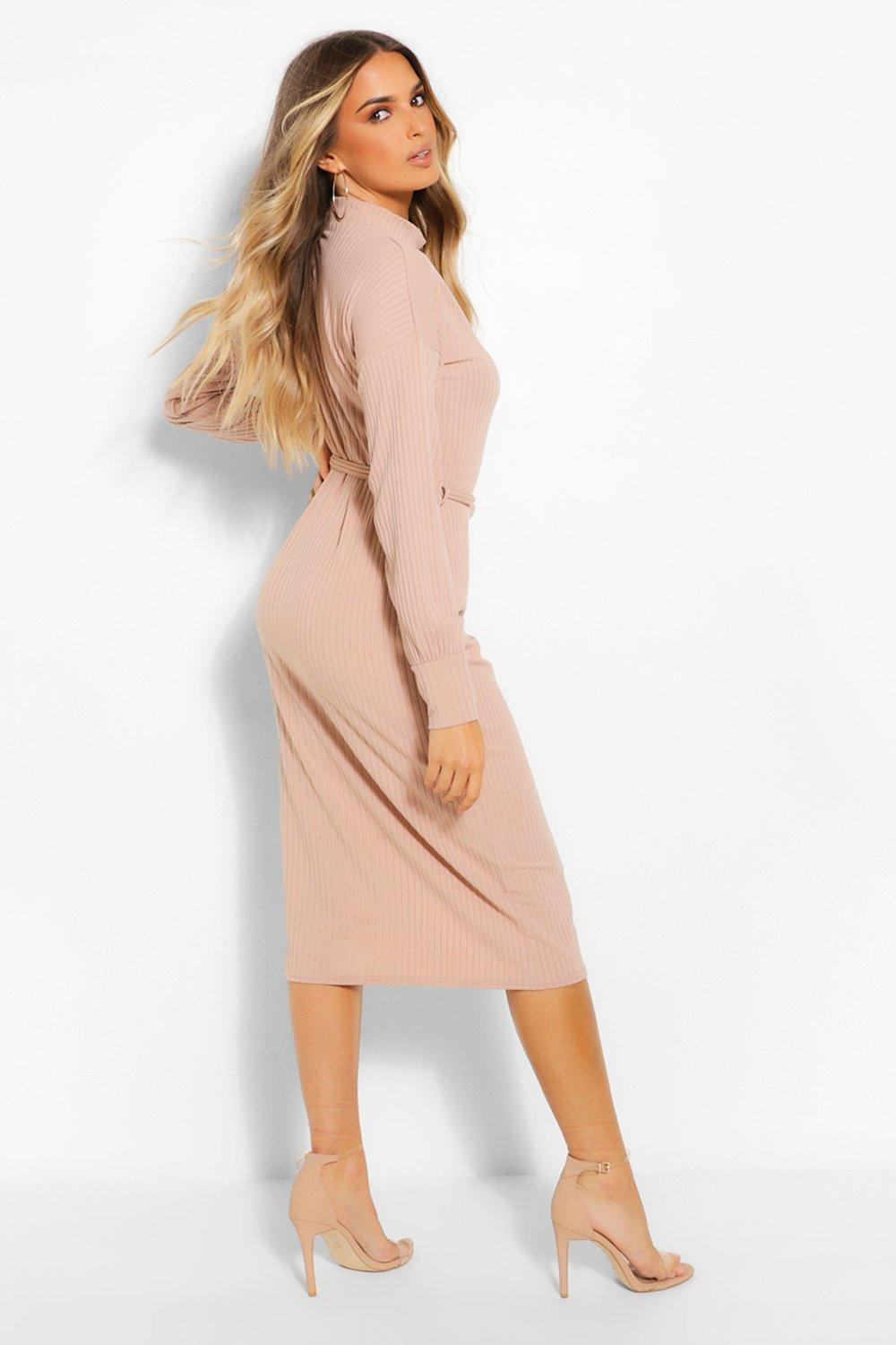 Sand Belted Midi Dress