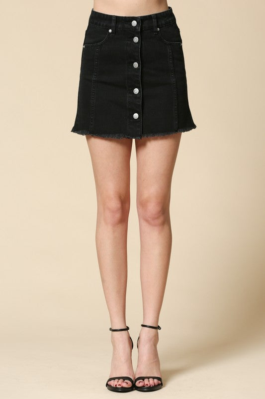 """Take Me Higher"" Button Denim Skirt"