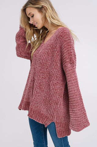 """Easy Like Sunday Morning"" Brick Sweater"