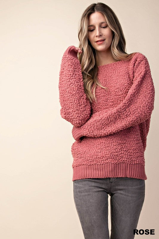 """Cotton Candy Lover"" Rose Popcorn Sweater"