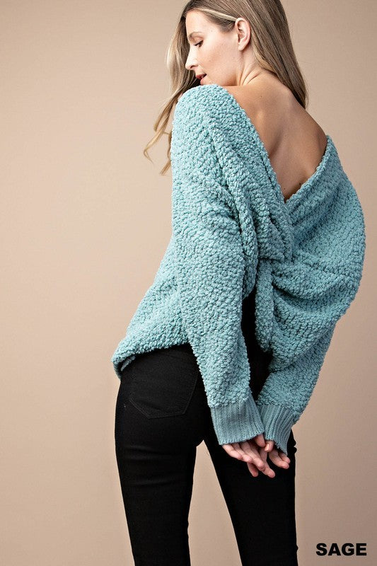 """Cotton Candy Lover"" Sage Popcorn Sweater"