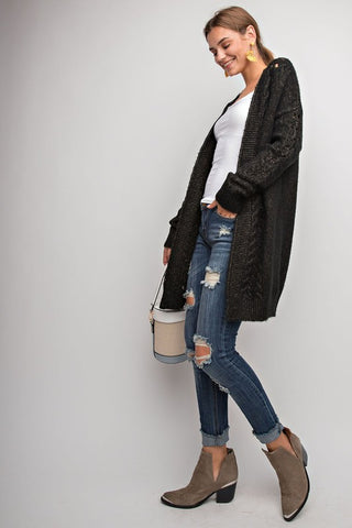 """Over You"" Black Cardigan"