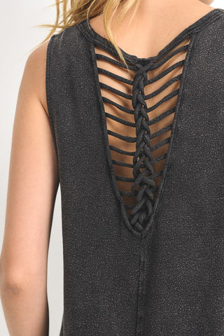 Braided Strap V-Back Blouse