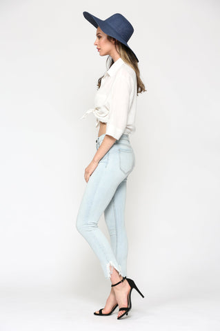 Amelia Super Light Wash Split Frayed Hem Skinny