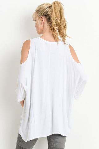 White Cold Shoudler Elbow Tunic