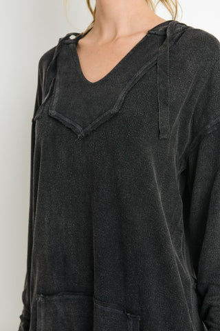 Mineral Washed Oversized Hoodie Top