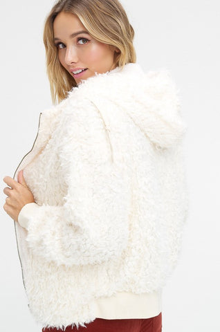 """Without You"" Shaggy Fur Hoodie"