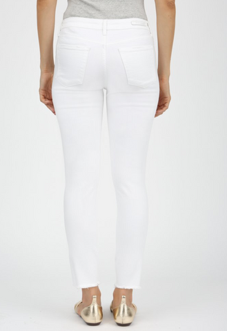 """Carly"" Cut Off Hem White Jeans"