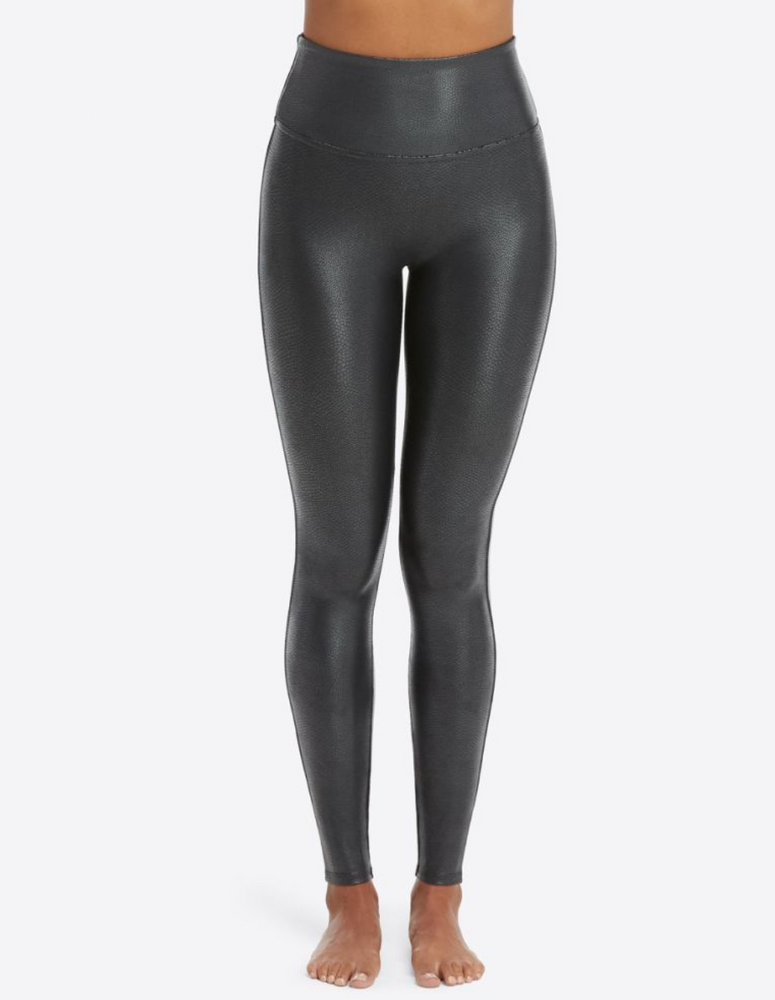 Faux Leather Pebbled Leggings Black