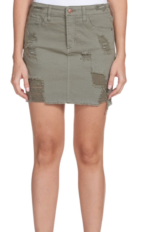 Olive Distressed Skirt