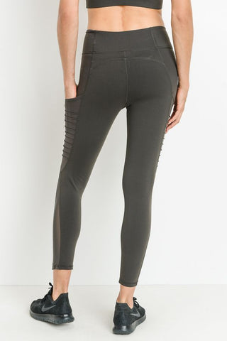 Moto Ribbed Mesh Dark Brown Leggings