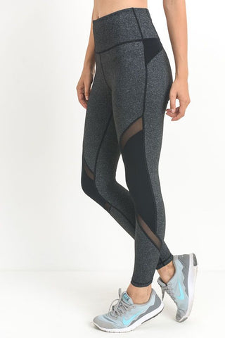 Grey High-Waist Mesh Leggings