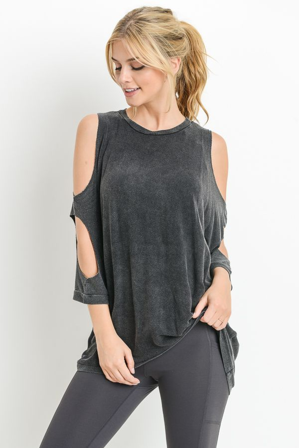 Black Cold Shoudler Elbow Tunic