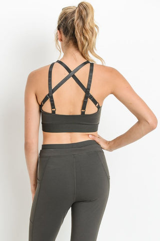 Dark Brown Criss-Cross Star Sports Bra