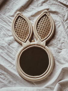 Rattan Rabbit Mirror