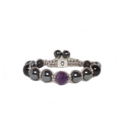 handmade bracelet made with amethyst and other natural stones in grey cording