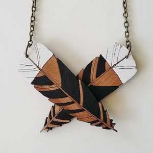 Huia Feather Reclaimed Rimu Necklace