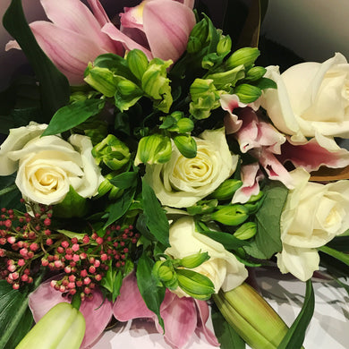 Hydrangeas, Roses and Oriental Lily Bouquet